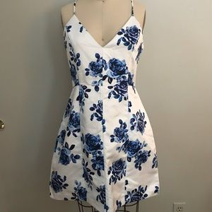 Satin floral shift dress